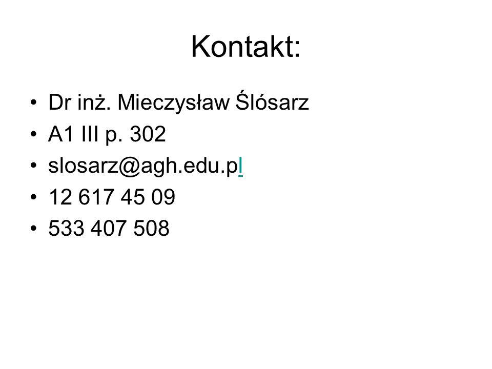 Kontakt: Dr inż. Mieczysław Ślósarz A1 III p. 302 slosarz@agh.edu.pll 12 617 45 09 533 407 508