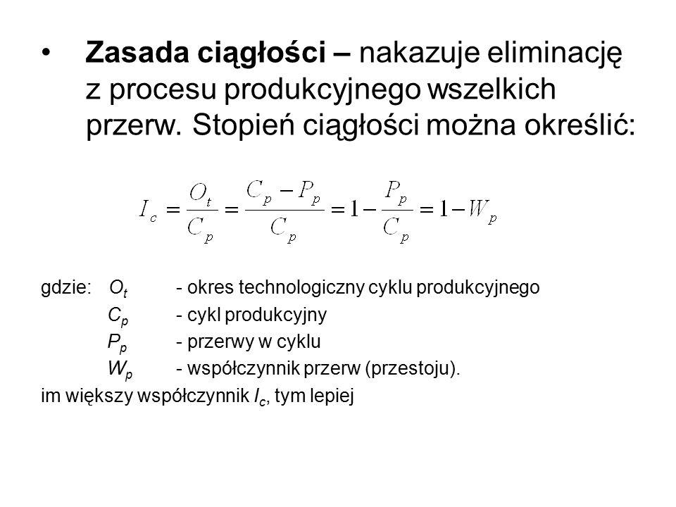 Zasada ciągłości – nakazuje eliminację z procesu produkcyjnego wszelkich przerw. Stopień ciągłości można określić: gdzie: O t - okres technologiczny c