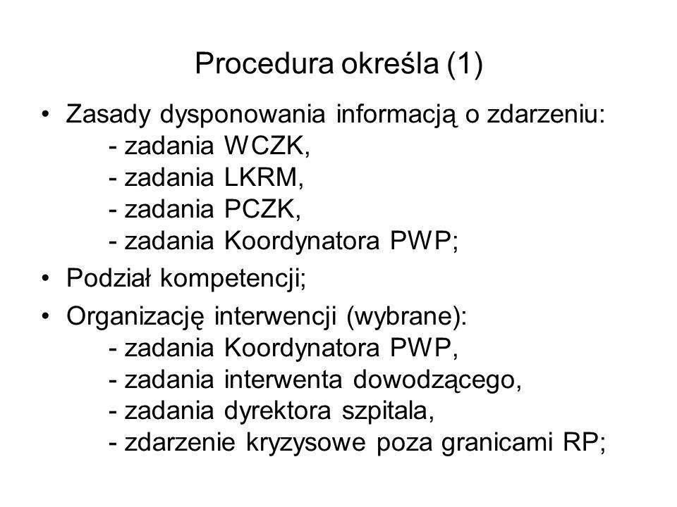 Procedura określa (1) Zasady dysponowania informacją o zdarzeniu: - zadania WCZK, - zadania LKRM, - zadania PCZK, - zadania Koordynatora PWP; Podział