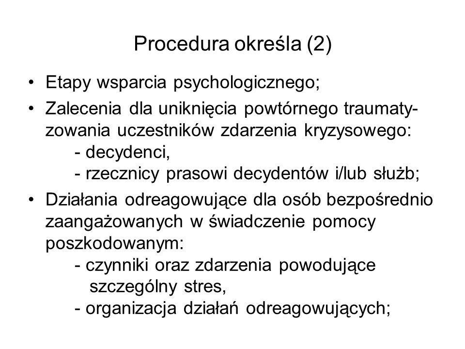 Procedura określa (2) Etapy wsparcia psychologicznego; Zalecenia dla uniknięcia powtórnego traumaty- zowania uczestników zdarzenia kryzysowego: - decy