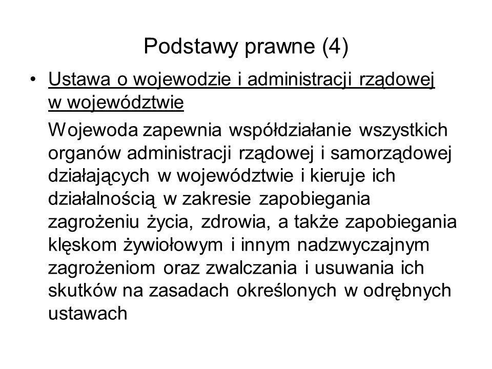 Podstawy prawne (4) Ustawa o wojewodzie i administracji rządowej w województwie Wojewoda zapewnia współdziałanie wszystkich organów administracji rząd