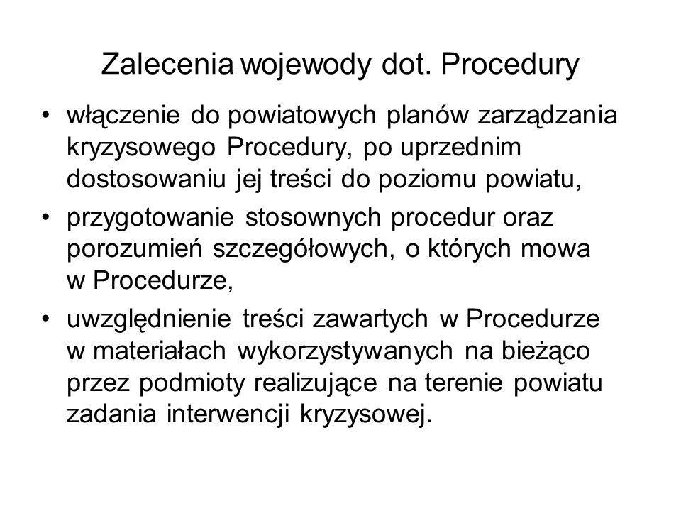 Zalecenia wojewody dot. Procedury włączenie do powiatowych planów zarządzania kryzysowego Procedury, po uprzednim dostosowaniu jej treści do poziomu p