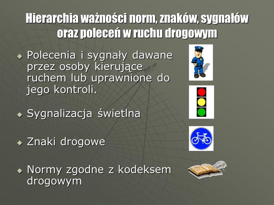 Hierarchia ważności norm, znaków, sygnałów oraz poleceń w ruchu drogowym  Polecenia i sygnały dawane przez osoby kierujące ruchem lub uprawnione do jego kontroli.