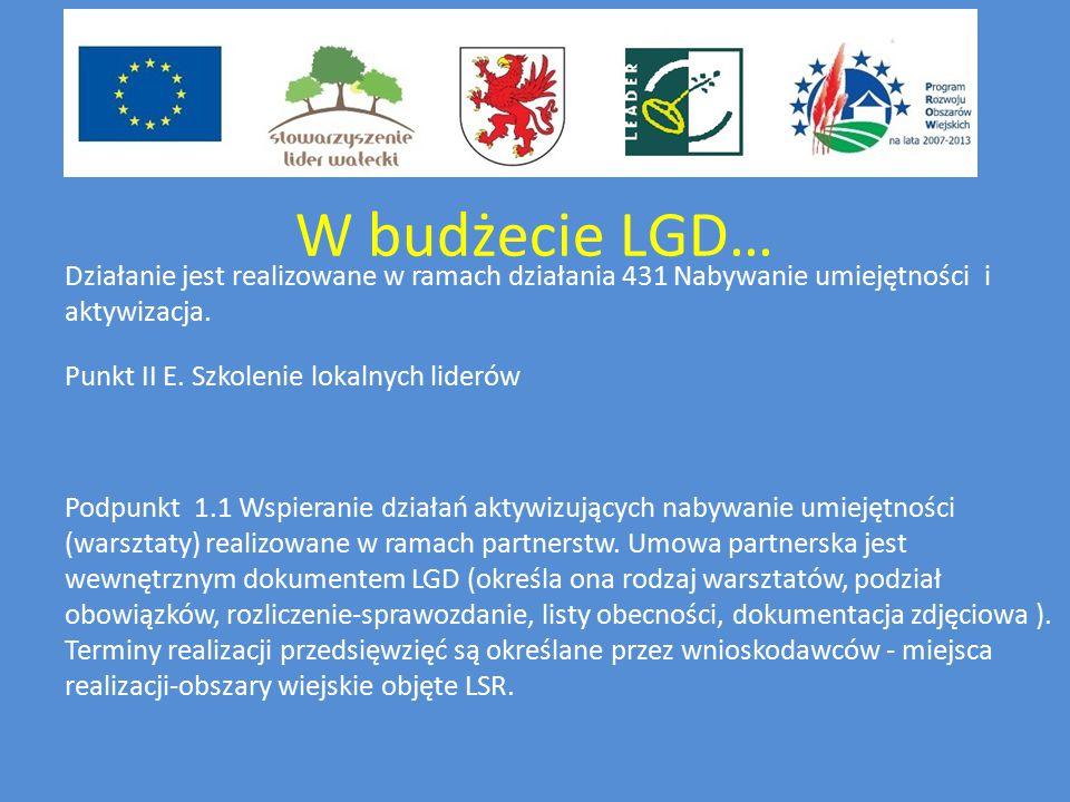 W budżecie LGD… Działanie jest realizowane w ramach działania 431 Nabywanie umiejętności i aktywizacja.