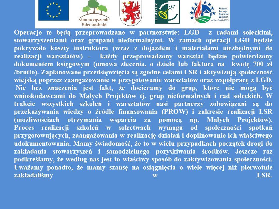 Operacje te będą przeprowadzane w partnerstwie: LGD z radami sołeckimi, stowarzyszeniami oraz grupami nieformalnymi.