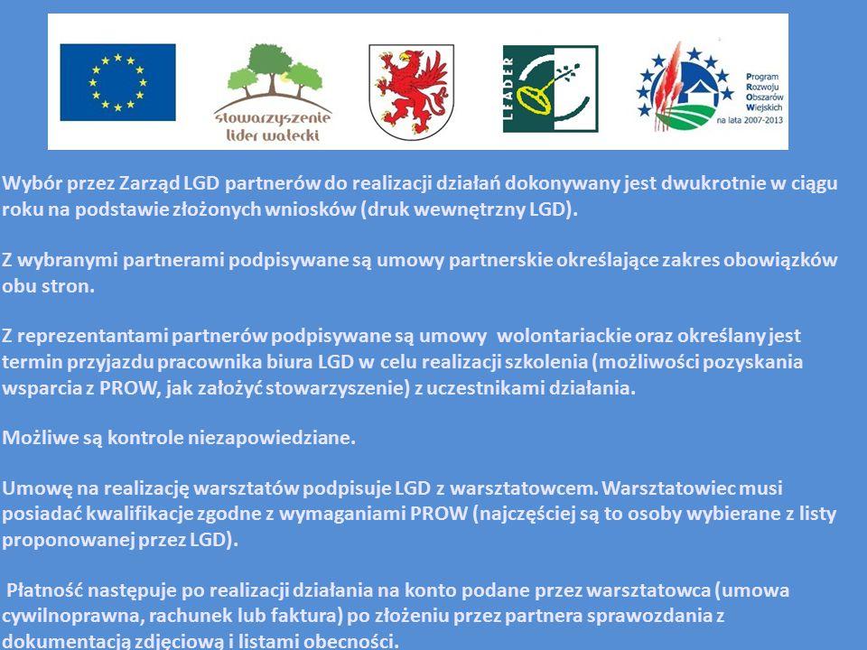 Wybór przez Zarząd LGD partnerów do realizacji działań dokonywany jest dwukrotnie w ciągu roku na podstawie złożonych wniosków (druk wewnętrzny LGD).