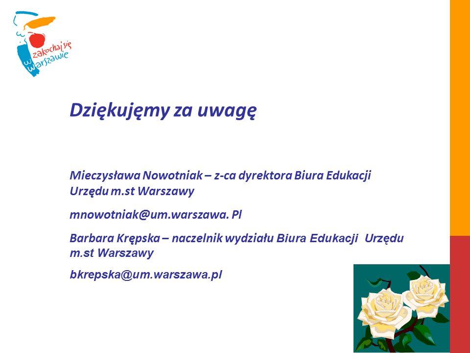 Dziękujęmy za uwagę Mieczysława Nowotniak – z-ca dyrektora Biura Edukacji Urzędu m.st Warszawy mnowotniak@um.warszawa.
