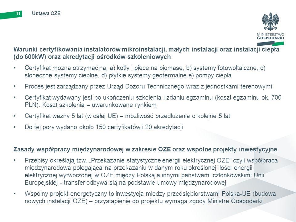 11 Ustawa OZE Warunki certyfikowania instalatorów mikroinstalacji, małych instalacji oraz instalacji ciepła (do 600kW) oraz akredytacji ośrodków szkol