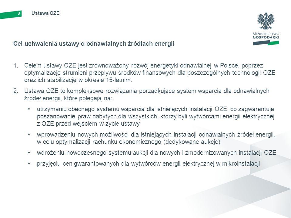 2 Ustawa OZE Cel uchwalenia ustawy o odnawialnych źródłach energii 1.Celem ustawy OZE jest zrównoważony rozwój energetyki odnawialnej w Polsce, poprze