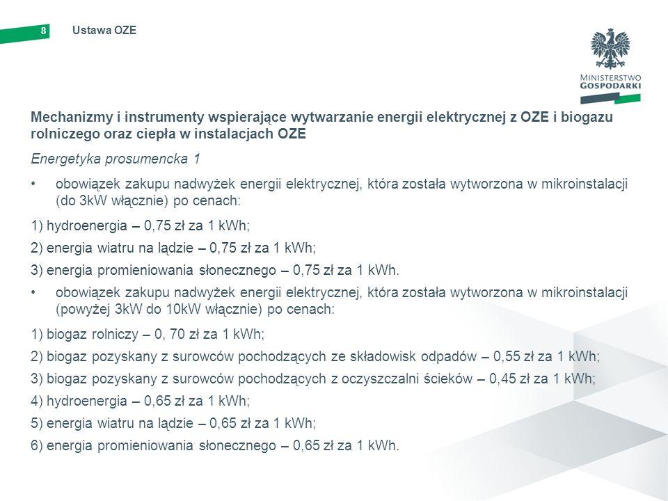 8 Ustawa OZE Mechanizmy i instrumenty wspierające wytwarzanie energii elektrycznej z OZE i biogazu rolniczego oraz ciepła w instalacjach OZE Energetyk