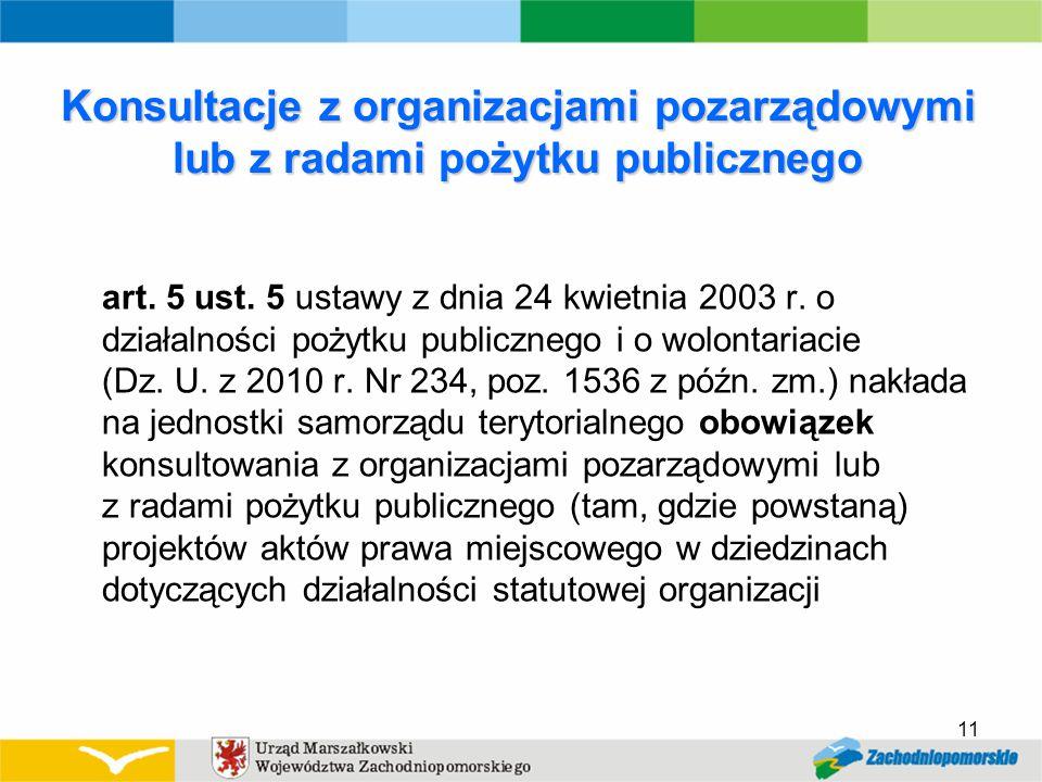 Konsultacje z organizacjami pozarządowymi lub z radami pożytku publicznego art.