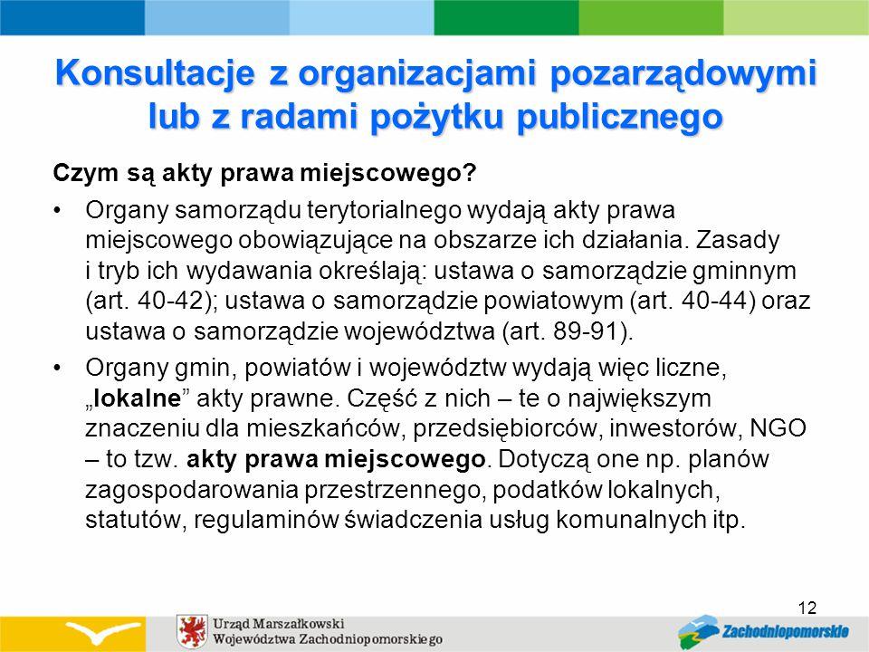 Konsultacje z organizacjami pozarządowymi lub z radami pożytku publicznego Czym są akty prawa miejscowego.