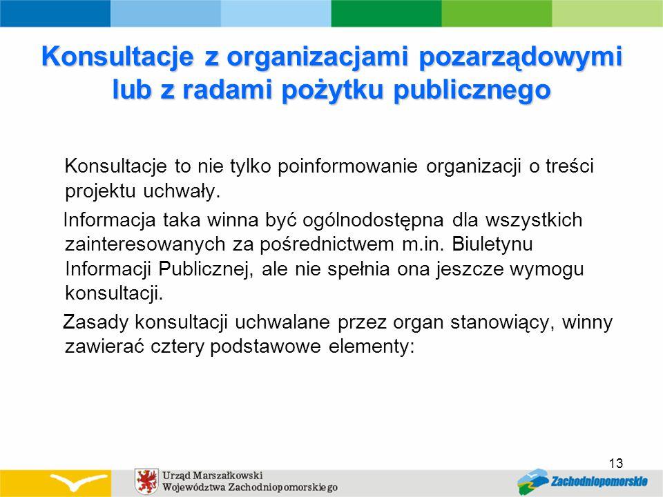 Konsultacje z organizacjami pozarządowymi lub z radami pożytku publicznego Konsultacje to nie tylko poinformowanie organizacji o treści projektu uchwały.