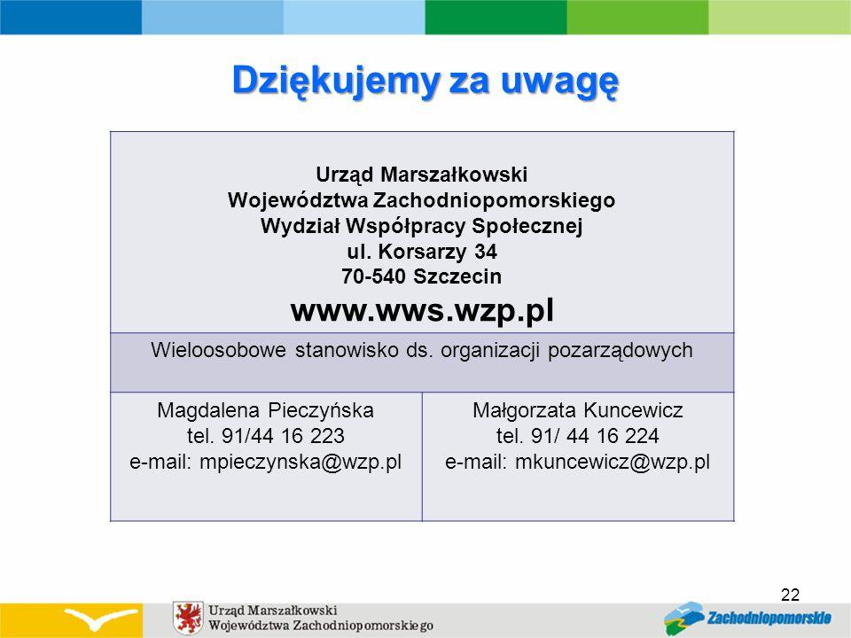 Dziękujemy za uwagę 22 Urząd Marszałkowski Województwa Zachodniopomorskiego Wydział Współpracy Społecznej ul.