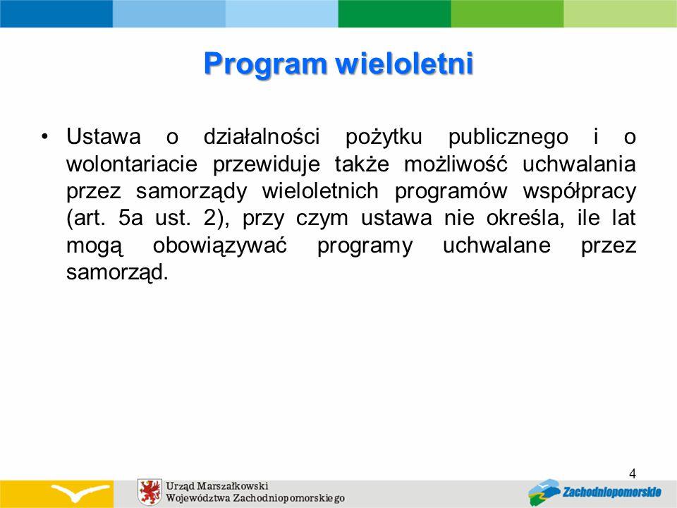 Program wieloletni Ustawa o działalności pożytku publicznego i o wolontariacie przewiduje także możliwość uchwalania przez samorządy wieloletnich programów współpracy (art.