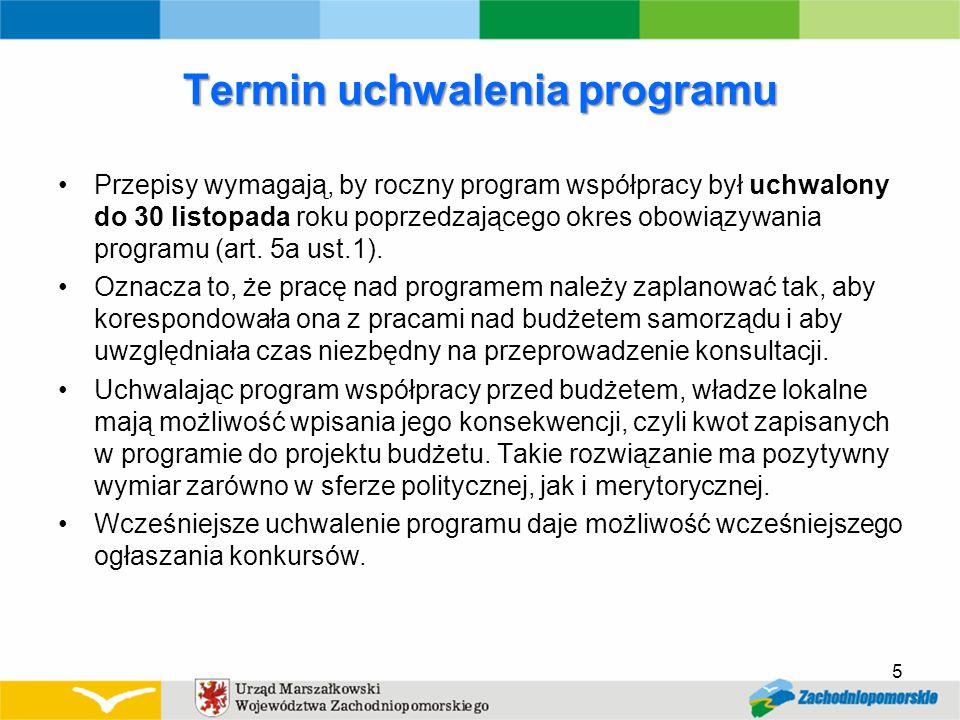 Termin uchwalenia programu Przepisy wymagają, by roczny program współpracy był uchwalony do 30 listopada roku poprzedzającego okres obowiązywania programu (art.