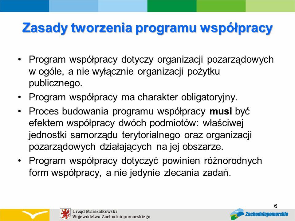 Zasady tworzenia programu współpracy Program współpracy dotyczy organizacji pozarządowych w ogóle, a nie wyłącznie organizacji pożytku publicznego.
