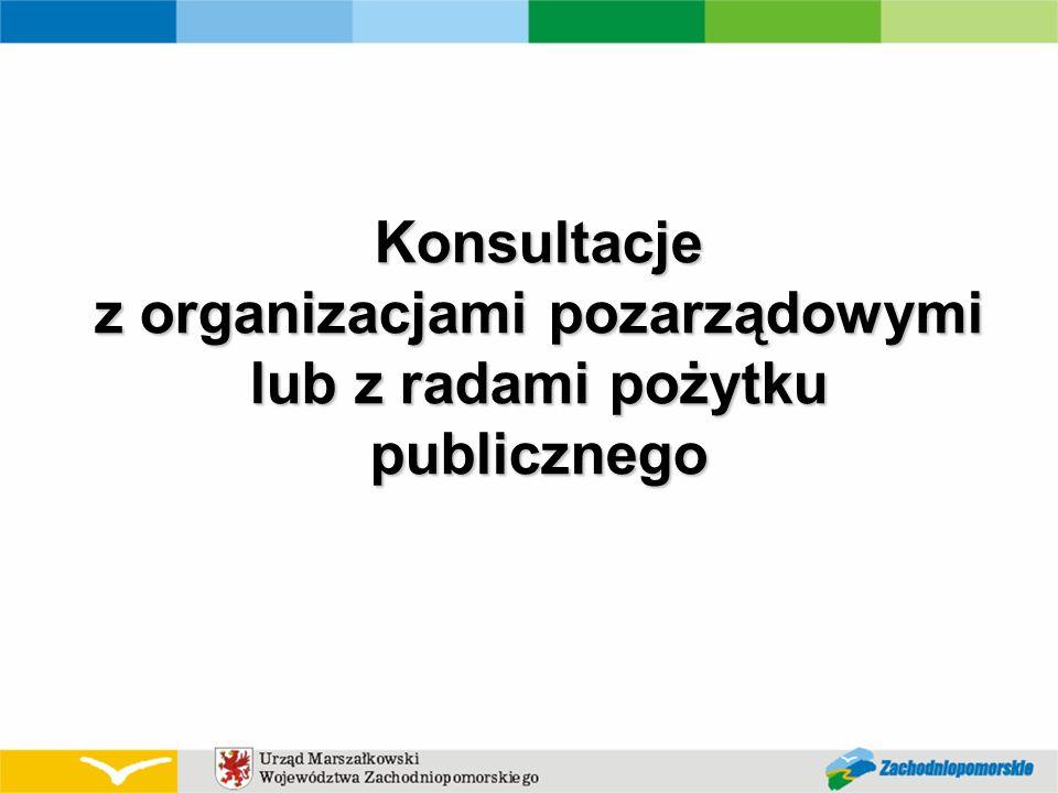 Konsultacje z organizacjami pozarządowymi lub z radami pożytku publicznego