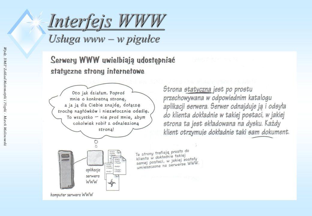Wydz. BMiP Zakład Matematyki i Fizyki - Marek Malinowski Interfejs WWW Usługa www – w pigułce