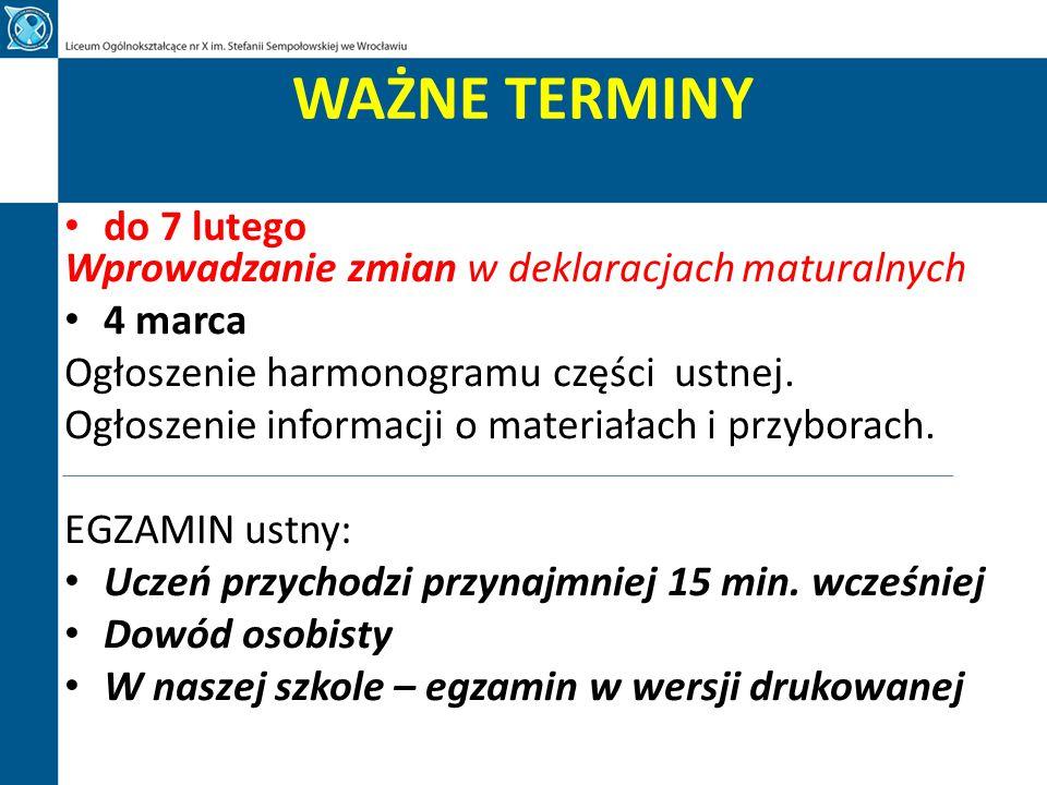 WAŻNE TERMINY MATURA PISEMNA 2015 godz.9.00 4 maja 2015 (poniedziałek) - egzamin - j.