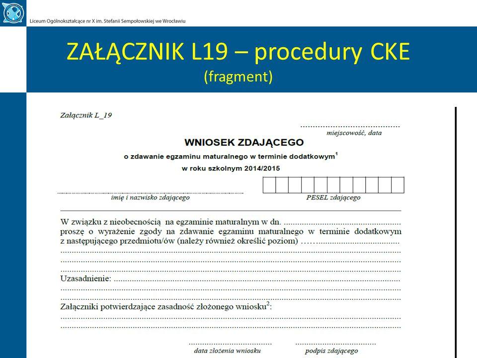 ZAŁĄCZNIK L19 – procedury CKE (fragment)