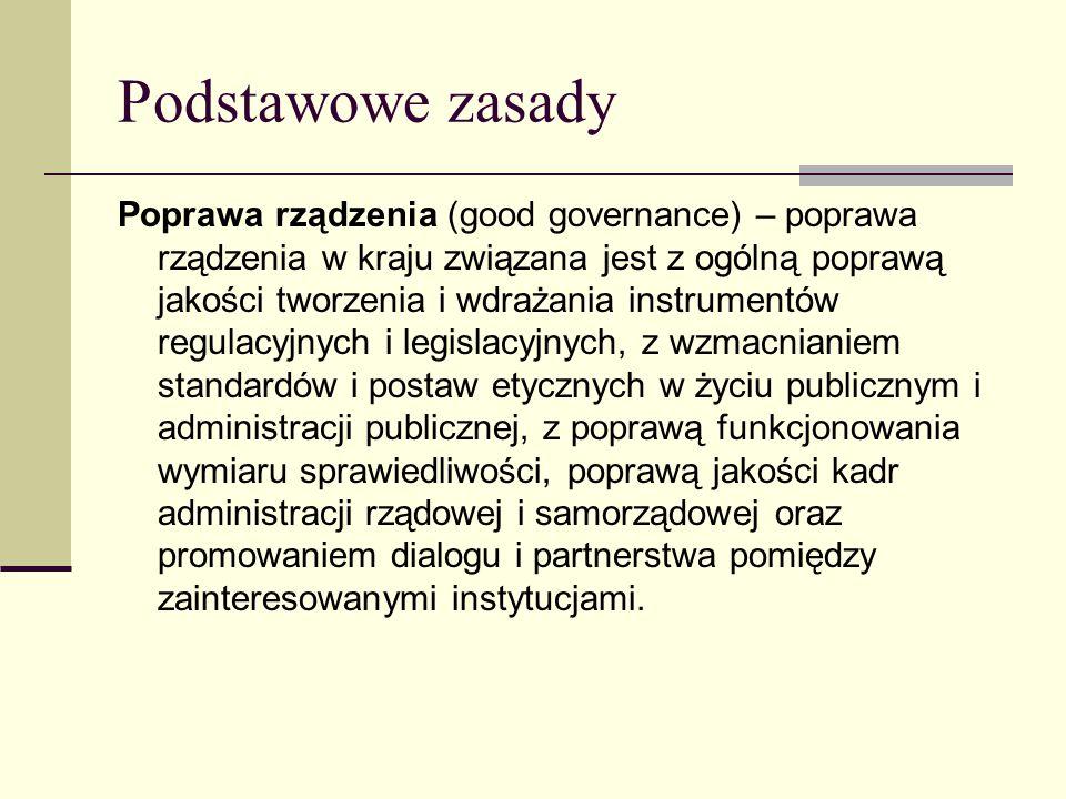 Podstawowe zasady Poprawa rządzenia (good governance) – poprawa rządzenia w kraju związana jest z ogólną poprawą jakości tworzenia i wdrażania instrumentów regulacyjnych i legislacyjnych, z wzmacnianiem standardów i postaw etycznych w życiu publicznym i administracji publicznej, z poprawą funkcjonowania wymiaru sprawiedliwości, poprawą jakości kadr administracji rządowej i samorządowej oraz promowaniem dialogu i partnerstwa pomiędzy zainteresowanymi instytucjami.