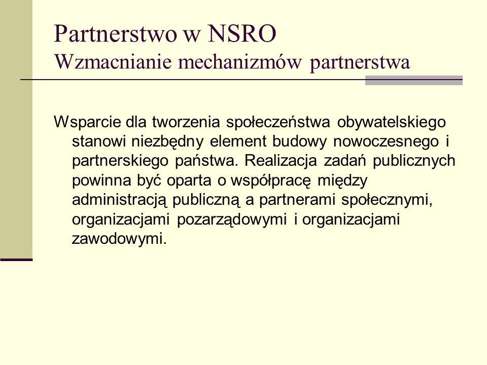 Partnerstwo w NSRO Wzmacnianie mechanizmów partnerstwa Wsparcie dla tworzenia społeczeństwa obywatelskiego stanowi niezbędny element budowy nowoczesnego i partnerskiego państwa.