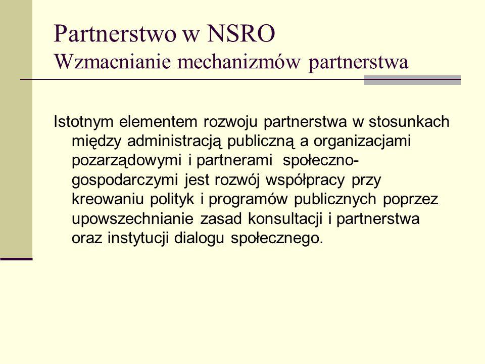 Partnerstwo w NSRO Wzmacnianie mechanizmów partnerstwa Istotnym elementem rozwoju partnerstwa w stosunkach między administracją publiczną a organizacjami pozarządowymi i partnerami społeczno- gospodarczymi jest rozwój współpracy przy kreowaniu polityk i programów publicznych poprzez upowszechnianie zasad konsultacji i partnerstwa oraz instytucji dialogu społecznego.