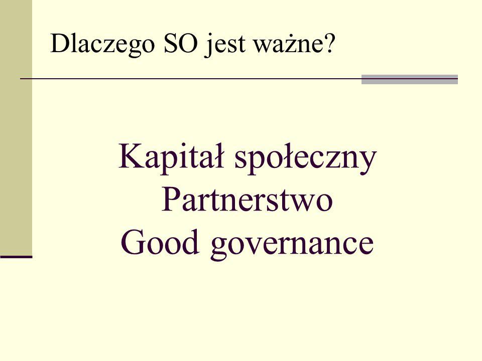 Kapitał społeczny Partnerstwo Good governance Dlaczego SO jest ważne