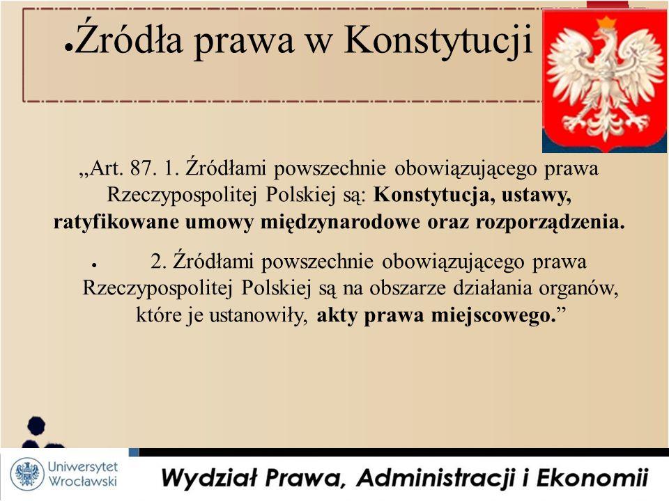 """● Źródła prawa w Konstytucji RP: """"Art.87. 1."""