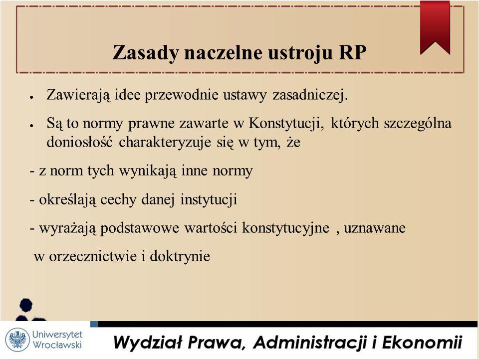 Zasady naczelne ustroju RP ● Zawierają idee przewodnie ustawy zasadniczej.