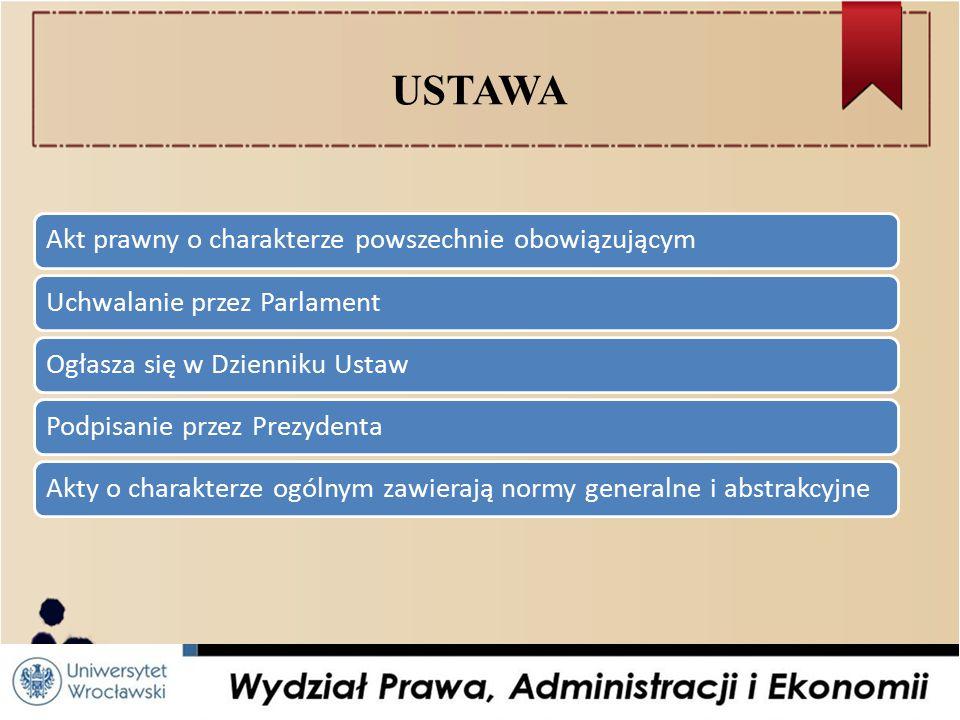 USTAWA Akt prawny o charakterze powszechnie obowiązującymUchwalanie przez ParlamentOgłasza się w Dzienniku UstawPodpisanie przez PrezydentaAkty o charakterze ogólnym zawierają normy generalne i abstrakcyjne