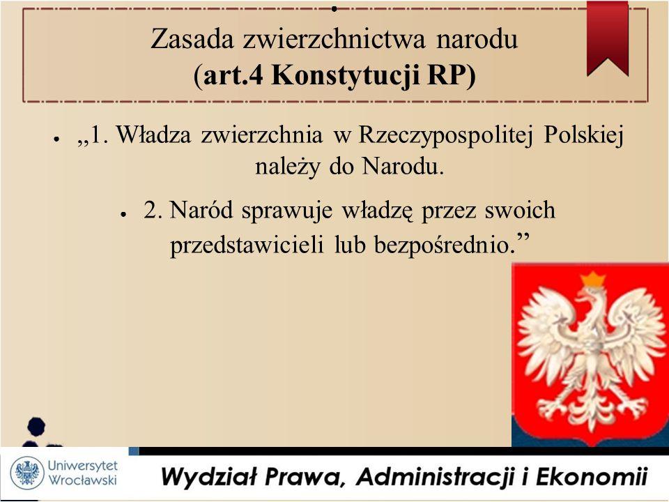 ● Zasada zwierzchnictwa narodu (art.4 Konstytucji RP) ●,,1.