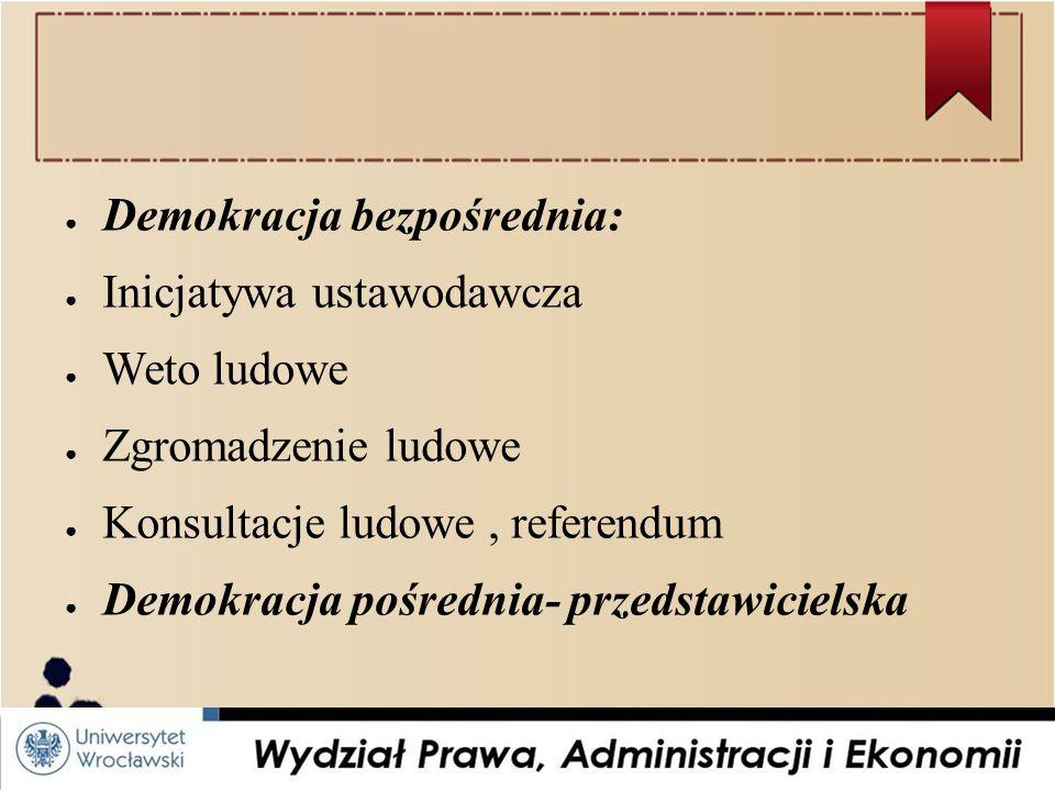 ● Demokracja bezpośrednia: ● Inicjatywa ustawodawcza ● Weto ludowe ● Zgromadzenie ludowe ● Konsultacje ludowe, referendum ● Demokracja pośrednia- przedstawicielska