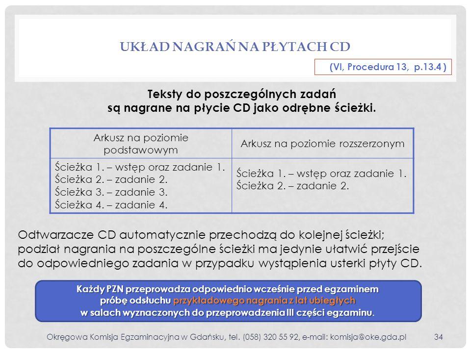 UKŁAD NAGRAŃ NA PŁYTACH CD Teksty do poszczególnych zadań są nagrane na płycie CD jako odrębne ścieżki. Odtwarzacze CD automatycznie przechodzą do kol