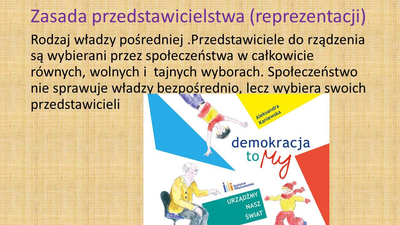 Zasada przedstawicielstwa (reprezentacji) Rodzaj władzy pośredniej.Przedstawiciele do rządzenia są wybierani przez społeczeństwa w całkowicie równych, wolnych i tajnych wyborach.