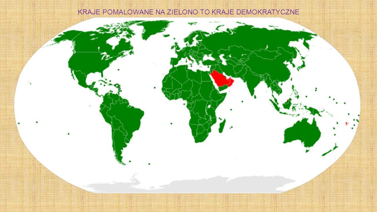 KRAJE POMALOWANE NA ZIELONO TO KRAJE DEMOKRATYCZNE