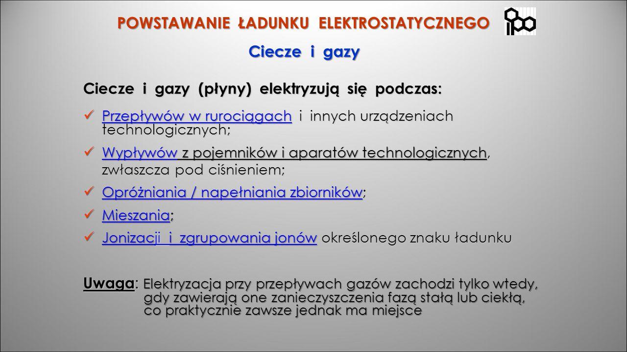POWSTAWANIE ŁADUNKU ELEKTROSTATYCZNEGO Ciecze i gazy (płyny) elektryzują się podczas: Przepływów w rurociągach i innych urządzeniach technologicznych;