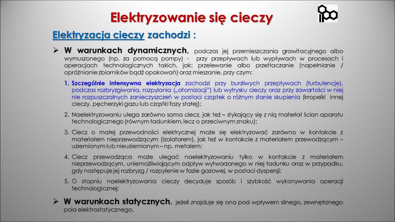 Elektryzowanie się cieczy Elektryzacja cieczy zachodzi :  W warunkach dynamicznych, podczas jej przemieszczania grawitacyjnego albo wymuszonego (np.