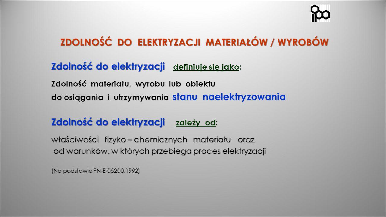 ZDOLNOŚĆ DO ELEKTRYZACJI MATERIAŁÓW / WYROBÓW ZDOLNOŚĆ DO ELEKTRYZACJI MATERIAŁÓW / WYROBÓW Zdolność do elektryzacji definiuje się jako: Zdolność mate