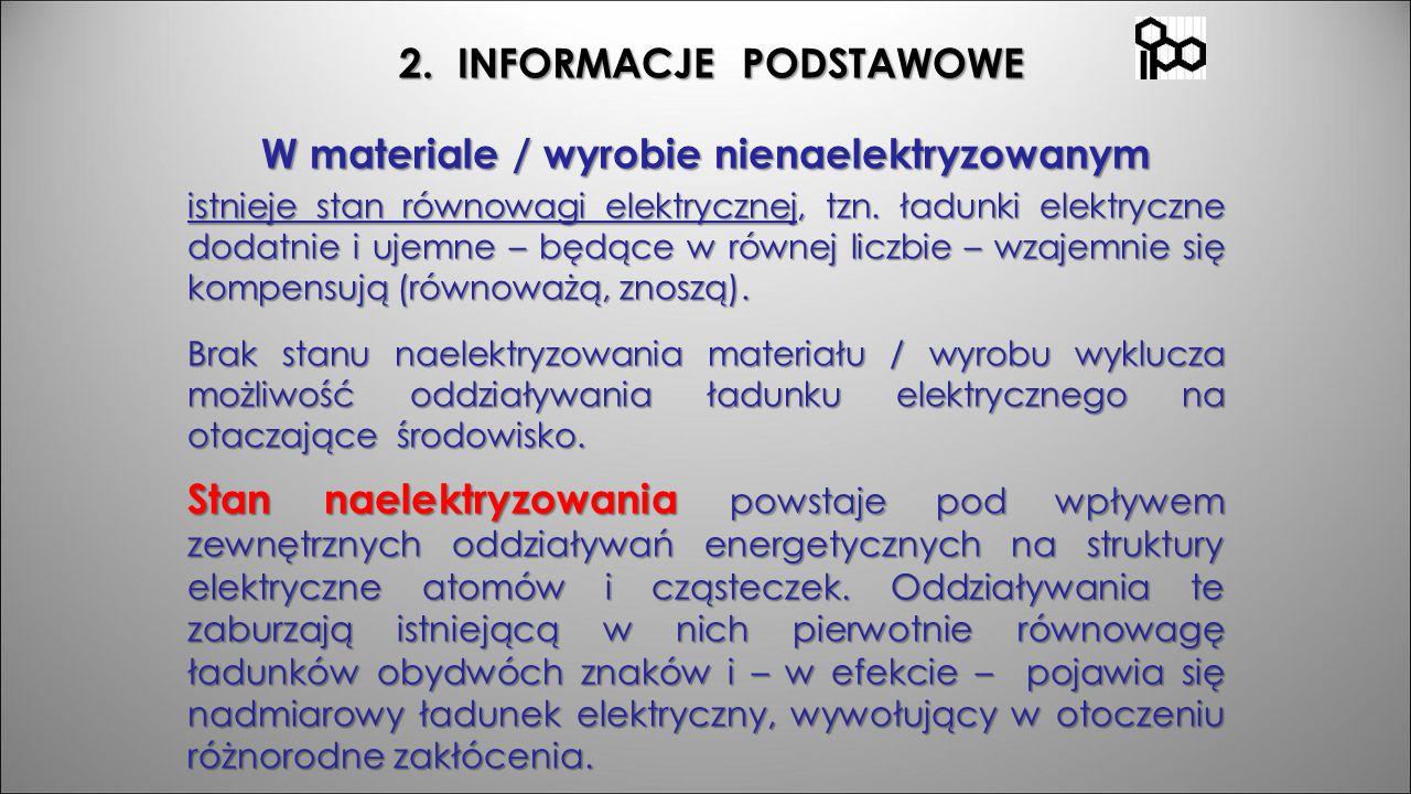 2. INFORMACJE PODSTAWOWE 2. INFORMACJE PODSTAWOWE W materiale / wyrobie nienaelektryzowanym istnieje stan równowagi elektrycznej, tzn. ładunki elektry