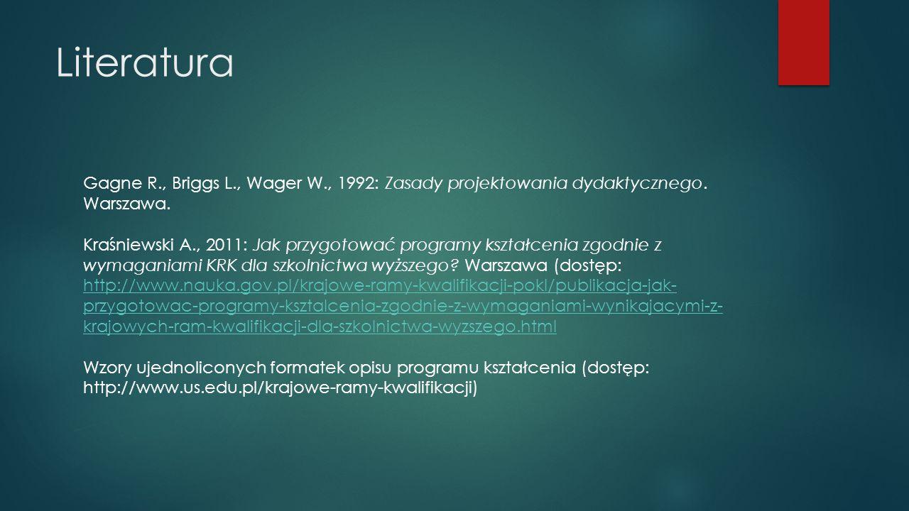 Literatura Gagne R., Briggs L., Wager W., 1992: Zasady projektowania dydaktycznego. Warszawa. Kraśniewski A., 2011: Jak przygotować programy kształcen