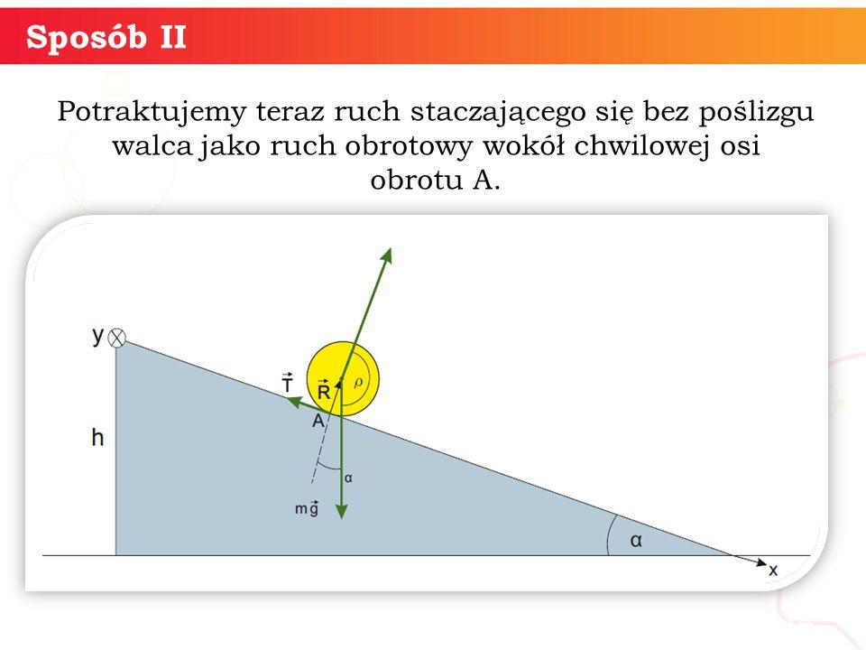 Potraktujemy teraz ruch staczającego się bez poślizgu walca jako ruch obrotowy wokół chwilowej osi obrotu A.