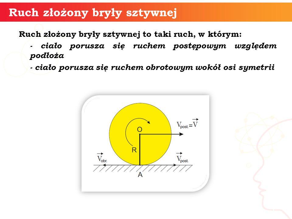 Ruch złożony bryły sztywnej to taki ruch, w którym: - ciało porusza się ruchem postępowym względem podłoża - ciało porusza się ruchem obrotowym wokół osi symetrii informatyka + 5 Ruch złożony bryły sztywnej