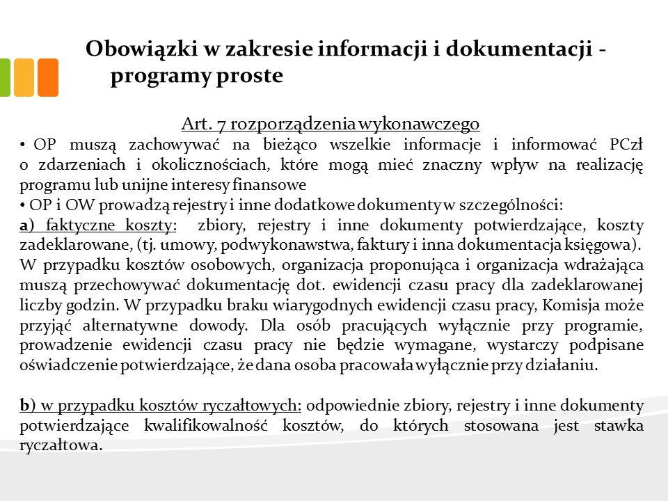 Obowiązki w zakresie informacji i dokumentacji - programy proste Art.