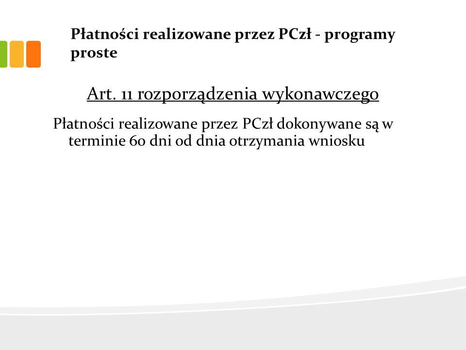 Płatności realizowane przez PCzł - programy proste Art.