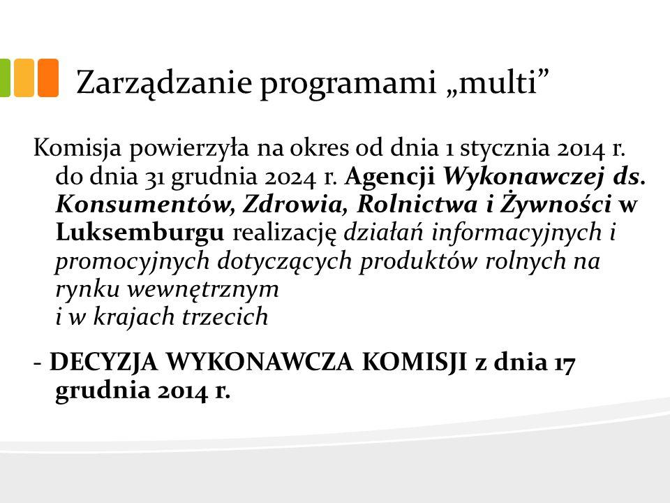 """Zarządzanie programami """"multi Komisja powierzyła na okres od dnia 1 stycznia 2014 r."""
