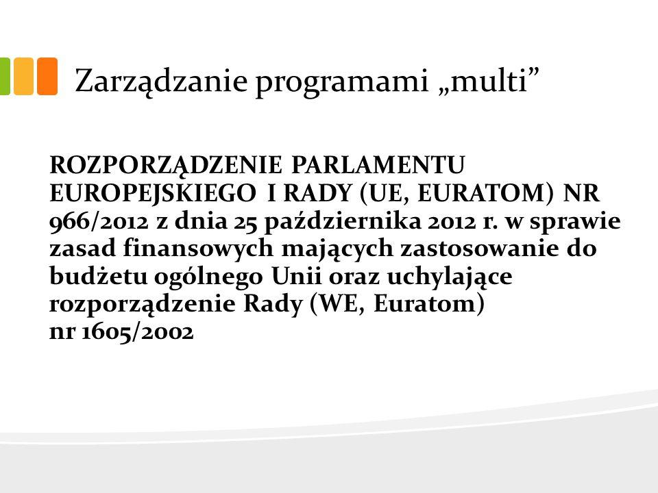 """Zarządzanie programami """"multi ROZPORZĄDZENIE PARLAMENTU EUROPEJSKIEGO I RADY (UE, EURATOM) NR 966/2012 z dnia 25 października 2012 r."""
