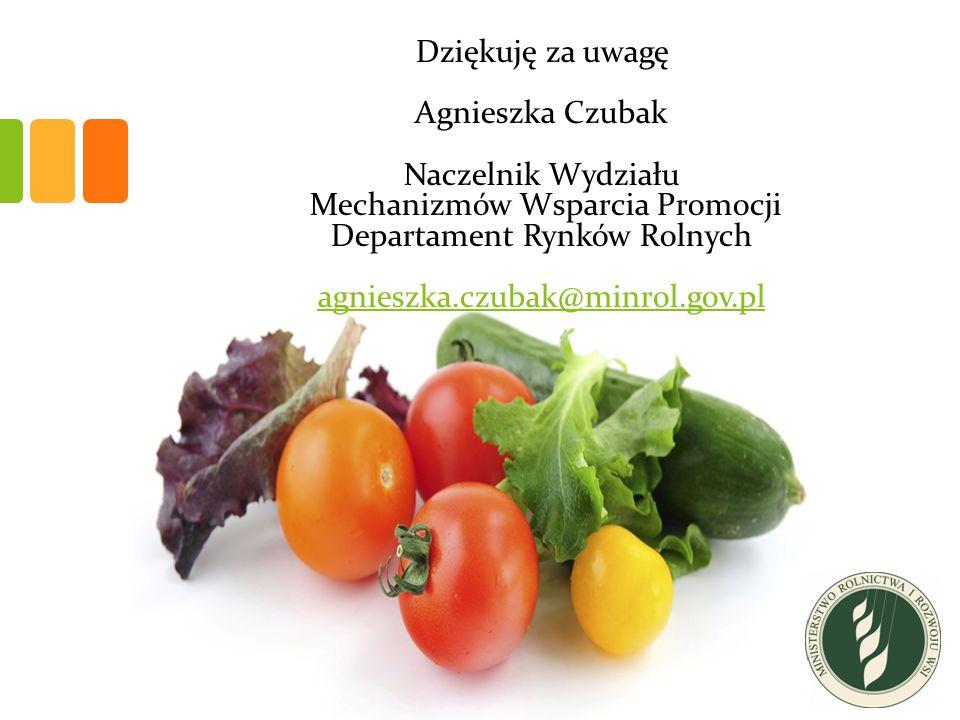 Dziękuję za uwagę Agnieszka Czubak Naczelnik Wydziału Mechanizmów Wsparcia Promocji Departament Rynków Rolnych agnieszka.czubak@minrol.gov.pl agnieszka.czubak@minrol.gov.pl