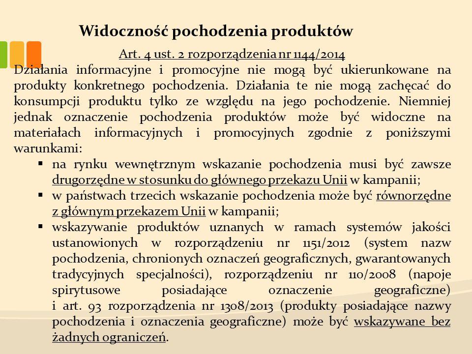 Widoczność pochodzenia produktów Art. 4 ust.